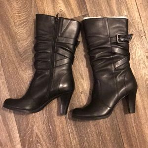 Shoes - Black leather mid calf heeled boots